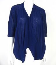 Calypso St. Barth Short Sleeve Drop Down Cardigan Sweater S Small Solid Blue