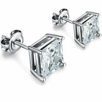 925 Sterling Silver Princes Square Cut Cz Screw Back Stud Earrings Rhodium