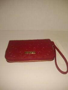 New Adrienne  Vittadini Studio zip around wallet with phone pocket Red Deboss