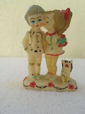 Vintage Figurine or Cake Topper Boy Girl Dog Flowers