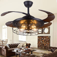"""42"""" Retractable Blades Ceiling Fan Light 3 Speed Control Chandelier Lamp Remote"""