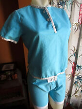 M True Vtg 60s WOMENS 2 PIECE BABY BLUE PENNEYS GYM CLASS UNIFORM SIDEZIP SHORTS
