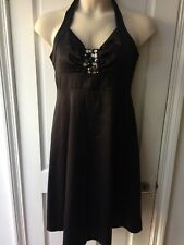 Wallis Dress Ladies Size 14, Black Satin Effect Halter Neck VGC