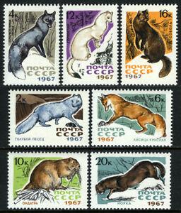 Russia 3371-3377, MNH. Fur-bearing Animals: Fox,Muskrat,Ermine,Sable,Mink, 1967