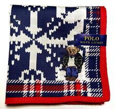 POLO Ralph Lauren Handkerchief hanky scarf bandana Bear Blue Check Auth New