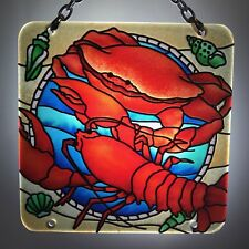 Joan Baker Designs Hand Painted art Glass Suncatcher-SFS4016 Lobster & Crab New