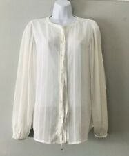Zara Basic Size 10-12 Very Smart Blouse Ties At The Neck  Classic Semi Sheer
