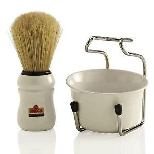 Omega 49.18 Shaving Brush Bowl and Stand Set - White