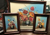 Vintage Textured Floral Pictures (3)very Light Plastic Frames 10 X 8 And 4 X 5