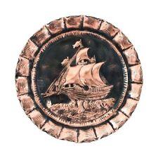 Piatto decorativo in RAME SBALZATO a mano con VELIERO da appendere RISTORANTE