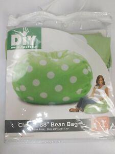 "DIY Classic 88"" Bean Bag Green And White Polka Dot 28"" x 28"" x 20"" Brand New"