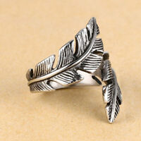 Retro Men Woman Antique Silver Stainless Steel Feather Ring Band Jewelry Gift JT