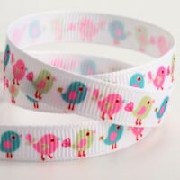 Little Birds Printed 9mm Grosgrain Craft Ribbon - Spring / Pastel Colours