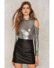 nasty gal Glamorous Work It Metallic Bodysuit XSMALL silver