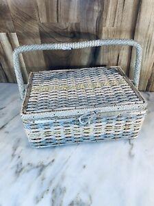 Vintage Sewing Basket Wicker Blue Lining