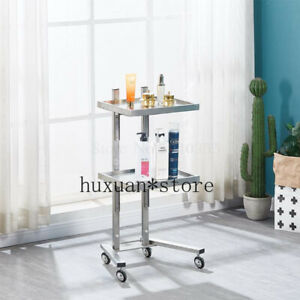 2020 Stainless Steel Mobile Storage Table Cart Tool Cart Foldable Two Table Cart