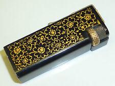 Vintage liftarm petrol mini lighter w. Flower motivos-Black Lacquer/painted-Nice