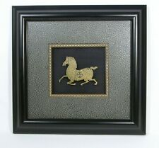 Folk Art Chinese Horse Illustration Gold & Brass by Martha Brown Framed w/COA js