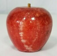 """Vintage Paperweight Red Alabaster Marble 3"""" tall Apple  MINT cond"""