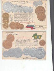 POSTCARDS 2-VINTAGE EARLY 1900-COINS-BRAZIL--RUSSIA