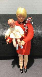 VINTAGE CACO MOTHER FATHER & BABY DOLLHOUSE DOLLS METAL FEET AND HANDS**WOW!!