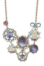 NWT Betsey Johnson Gold Tone Purple Carved Rose Lucite Crystal Bib Necklace