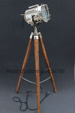 Handmade Chrome Floor Lamp With Wooden Tripod Marine Searchlight Decorative