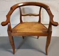 Antique Hand Carved Wood Rush Seat Chippendale Style Armchair Horseshoe-Back