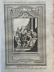 1770 Little Children Brought To Christ Biblical Antique Copperplate Print