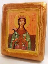 Saint Barbara Wooden Icon  Religious Art One of A Kind