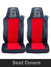 2x DAF XF 105 105 CF (LF) FUNDAS DE ASIENTO a medida Hgv Camión Negro/Rojo Logo