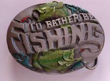 I'D RATHER BE FISHING FISH LURE HOOK BASS FISHERMAN BELT BUCKLE BERGAMOT USA NEW