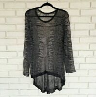 EILEEN FISHER Sheer Black Grey Sweater Cardigan Womens Size XL Large L Italian