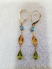 14k YELLOW GOLD EARRINGS MULTYCOLOR