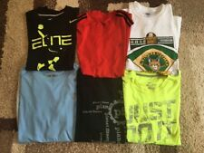 Lot 6 Workout Shirts Athletic LARGE Nike Adidas More Blue Red AA15