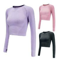 Women Long Sleeve Fitness Gym Yoga Crop Tops T-Shirt Sports Gym Activewear S-L