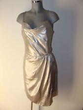 Kleid glänzend metallisches silber Gr 46  in edlem Glanz luftig leicht II21