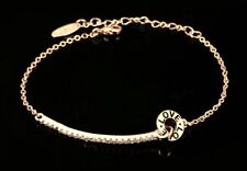 ELEGANT ROSE GOLD CRYSTAL LOVE CHARM BRACELET WITH EXTENDER CHAIN  [FREE UK P&P]