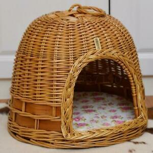 Cat kennel willow wicker dog kennel washable small pet house