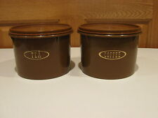 TUPPERWARE vintage 2 piece set brown coffee & tea stacking canisters #263