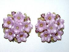Beautiful STAK Designer Signed Vintage Lavender Flowers & Crystals Clip Earrings