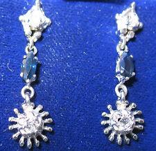 New Old Stock 14kt White Gold Diamond Sapphire Starburst Earrings AVIGAD-Sweet