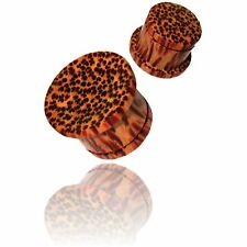 PAIR 0G (8MM) COCONUT WOOD CONCAVE SINGLE FLARE PLUGS ORGANIC STYLE COCONUT PLUG