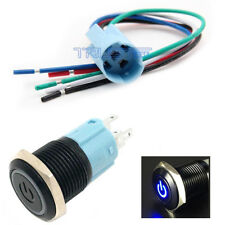 16mm Socket Plug+12V Latching Push Button Black  LED Power Momentary Switch