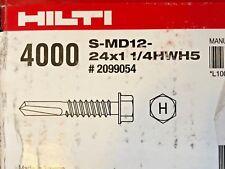 HILTI SELF DRILLING SCREW S-MD12-24X1 1/4HWH5 #2099054 4000 QTY NEW IN BOX