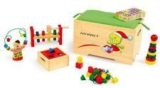 Spielzeugkiste Sitzbox 7-teilig Motorik Holz  ca. 36 x 19 x 22 cm