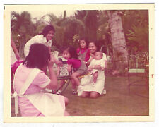 Vintage 70s PHOTO Family Maids One w/ Camera Taking Pics Little Kids Baby