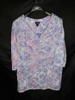 Erika 1X Purple Pink Print T Shirt 3/4 Sleeve Soft Knit Shirt Woman 1XL