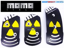 "Genuine MOMO ""Atomik"" Black Silver and Yellow Pedal Pads Non slip sports 3pcs"