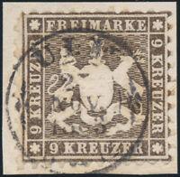 WÜRTTEMBERG, MiNr. 28 d, Briefstück, gepr. Heinrich, Mi. 220,-